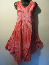 Dress Fits XL 1X Plus Pink Tie Dye Crochet Trim V Neck A Shape Sundress NWT 803