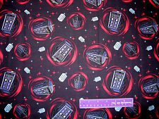 DOCTOR WHO Tardis Phone Booth Time Machine Space Cotton Fabric BY THE HALF YARD
