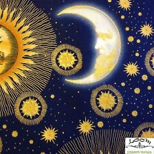 RPB294D Celestial Astrology Star Sign Zodiac Sun Moon Space Cotton Quilt Fabric