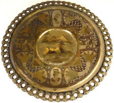 """Stunning Egyptian Hand Made Copper Brass Silver Plated Wall Plate 11.5"""" Diameter"""