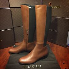 NEW Gucci Brown Leather Knee High Boots. Women US size 9 $1,258