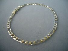 """10""""- STERLING SILVER ANKLE BRACELET-FIGARO -3mm-080- MADE IN ITALY -925"""
