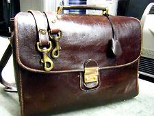 RARE brooks Brothers Vintage Luxury Briefcase Leather Attache Laptop bag brown