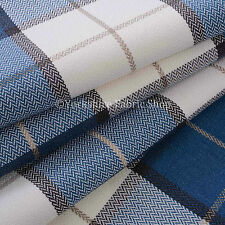 Designer Hard Wearing Tartan Pattern Soft Chenille Upholstery Fabric Blue White