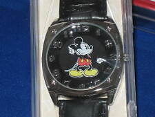 DISNEY Parks MICKEY MOUSE WATCH moves hands Silver tone Leather band Square- NEW