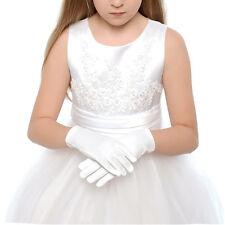 1 Pair Kid Gloves White Short Satin Feel Boy Hold Flower Girl Performance Dance
