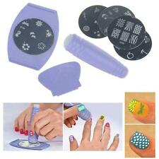 Nail Art Stamps Stamp Print Design Metal Plate 5Pcs With Stamper Transfer Kit LJ