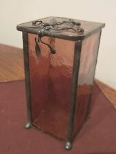 antique handmade leaded bronze stained pink glass dresser vanity trinket box jar