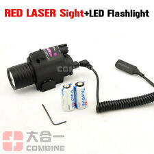 caza táctico CREE LED Flashlight&Red Laser Sight Dot Combo Para Pistols