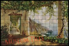 72x48 View to the Amalfi Tumbled Marble Tile Mural for Bathroom Wall