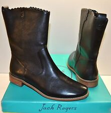 New $228 Jack Rogers Carly Black Flat Mid Calf Leather Boot sz 7.5