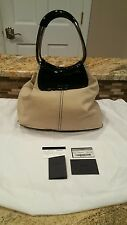 Authentic PRADA Canvas Leather Canapa handbag br1687 Beige black semitracolla