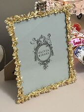 "Olivia Riegel Gold Cornelia Swarovski Crystal 8"" x 10"" Photo Frame NEW In Box!"