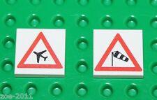 Lego 2x White Tile 2x2 Custom Printed Road Sign NEW!!! 12