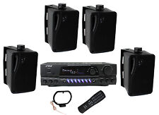 """4) Pyle PLMR24B 3.5"""" 200W Box Speakers + PT260A Home Digital Stereo Receiver"""