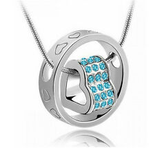 Womens Heart Crystal Charm Pendant Chain Necklace Fashion Silver Plated Jewelry