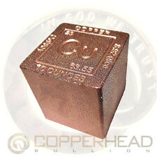 1 x 10oz .999 Fine Copper Bullion Cube Element Design Square Bar 5-8-10-20