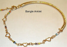 Designer Heart Solid GOLD gep Bangle Anklet Bracelet