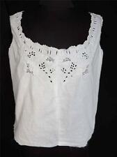 RARE DEADSTOCK EDWARDIAN ERA HAND EMBROIDERED WHITE COTTON TOP SIZE 36-38+