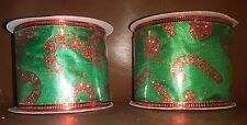 Green 2.5in Wire Ribbon with Red Candy Cane Decoration 6 yards long