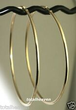 "COUTURE 3.3g Solid 14K Yellow Gold  HUGE 3.25"" Endless Hoop Earrings 80x2mm"