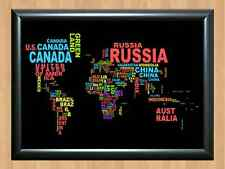 World Map Country Countries Names Typography Colorful Art A4 Print Photo Poster