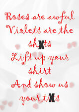 Show Us Your T1ts ~ Roses Are Awful Anti Valentines Day Card - PM-RAR018