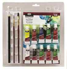 15 PIECE WATERCOLOUR 5ML PAINT ART SET BRUSH PENCIL PAD PALLETE RART-2005-3T