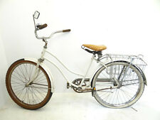 Vintage White Huffy Roadside Cruiser Street Bike Bicycle Cycle with Basket Parts