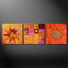 ABSTRACT SUN MODERN DESIGN 3 PANELS CANVAS PRINT PICTURE WALL ART FREE UK P&P