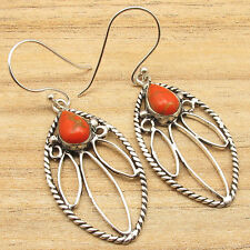 ORANGE COPPER TURQUOISE Handmade Earrings ! 925 Sterling Silver Plated Jewelry