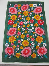 Vintage new old stock linen tea towel flower power green floral 60s 70s retro