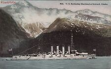 Postcard Ship US Battleship Maryland at Seward Alaska