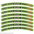 Street triple 675 lime green colour wheel rim graphics stickers decals x 8