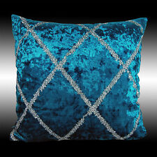 SHINY CROSS SILVER DECO SMOOTH BLUE VELVET THROW PILLOW CASES CUSHION COVERS 17""