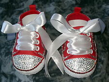 BAXTER'S.BABY BLING ROMANY BOOTEES. RED WITH CRYSTAL/RED BLING SIZE: 0-6 Months.