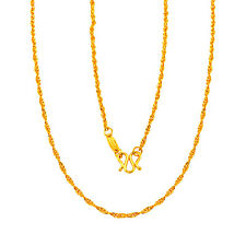 """Elegant Pure Solid 24k Yellow Gold Necklace Women's Lucky Singapore Chain 16.9"""""""