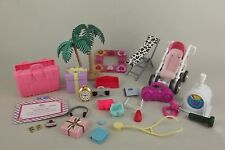 Lot Misc Barbie Doll Accessories Stroller Scale Kelly Gift Suitcase Radio More