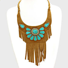 "16"" brown tassel fringe turquoise faux suede bib collar choker Necklace crystal"