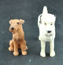 Vintage Lot Of 2 Scottish Terrier Porcelain Airedale Stone Critters Dog Figurine