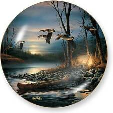 Terry Redlin EVENING GLOW Collector Plate - Canoe Camping Geese in Moonlight