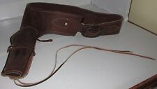 Vintage Western Gun Ammo Belt w/ Pistol Holster Old leather Cowboy 1960's - 70's