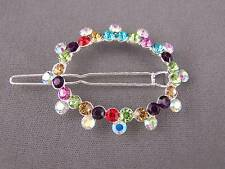 Colorful crystal sparkly oval barrette hair clip pin dressy prom wedding bridal