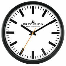 Precision Wall Clock Radio Controlled 30cm White Face Black Time Hands