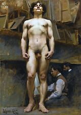 "1896 J.C. Leyendecker, American, Muscular Nude Male, ART, 20""x14"" Canvas"