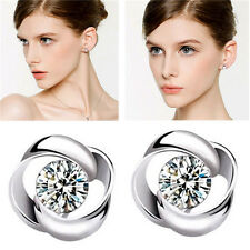 Charming Women Fashion Silver Plated Crystal Shiny Ear Stud Earrings