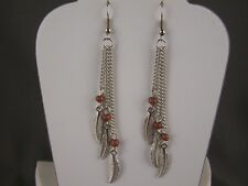 "silver Brown feather earrings triple multi chain dangle 3.5"" long lightweight"