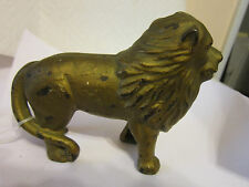 "Vintage Cast Iron -Lion Still Bank - 5"" L Gold Tone- Tail Right, Ears Up"