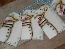 12 Primitive Christmas Snowman Hang Tags Goodie Bags Cookie Exchange Gift Ties