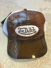 AuthenticNWT Von Dutch Adjustable White Trucker Hat Cap Brown UV Protector Visor
